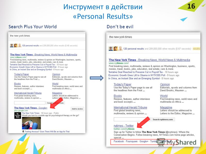 Инструмент в действии «Personal Results» 16 Dont be evilSearch Plus Your World