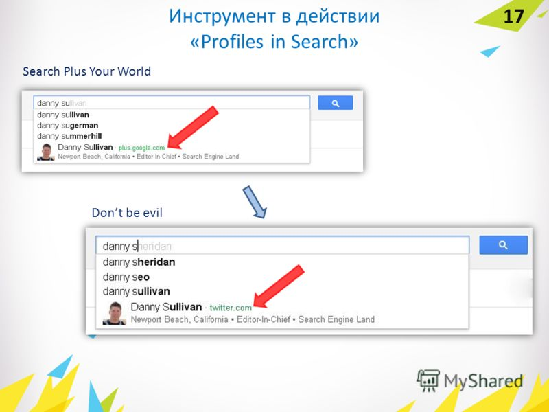 Инструмент в действии «Profiles in Search» 17 Search Plus Your World Dont be evil