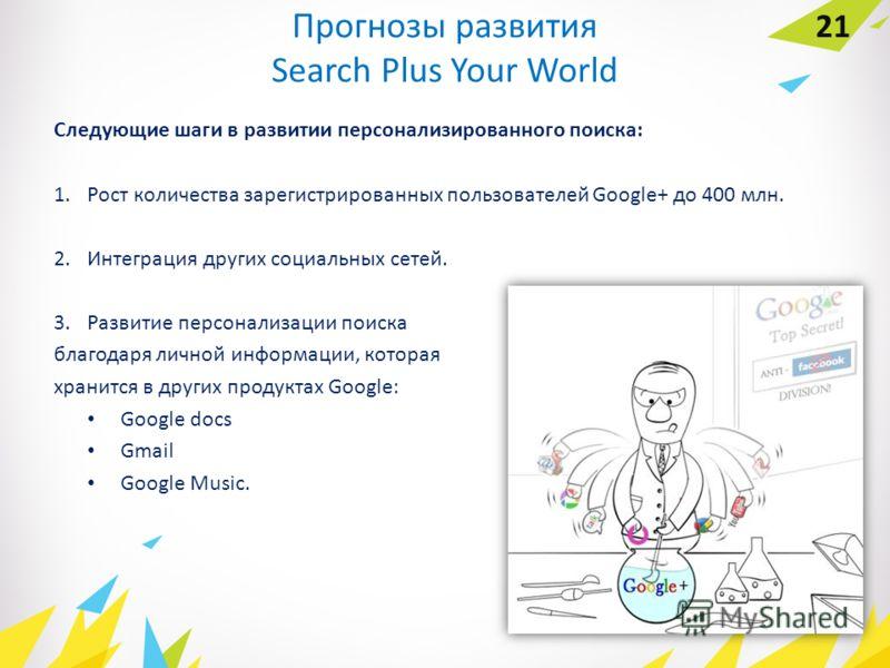 Прогнозы развития Search Plus Your World Следующие шаги в развитии персонализированного поиска: 1. Рост количества зарегистрированных пользователей Google+ до 400 млн. 2. Интеграция других социальных сетей. 3. Развитие персонализации поиска благодаря