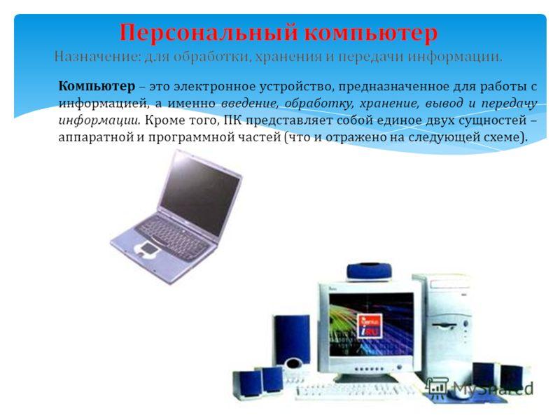 Компьютер – это электронное устройство, предназначенное для работы с информацией, а именно введение, обработку, хранение, вывод и передачу информации. Кроме того, ПК представляет собой единое двух сущностей – аппаратной и программной частей (что и от