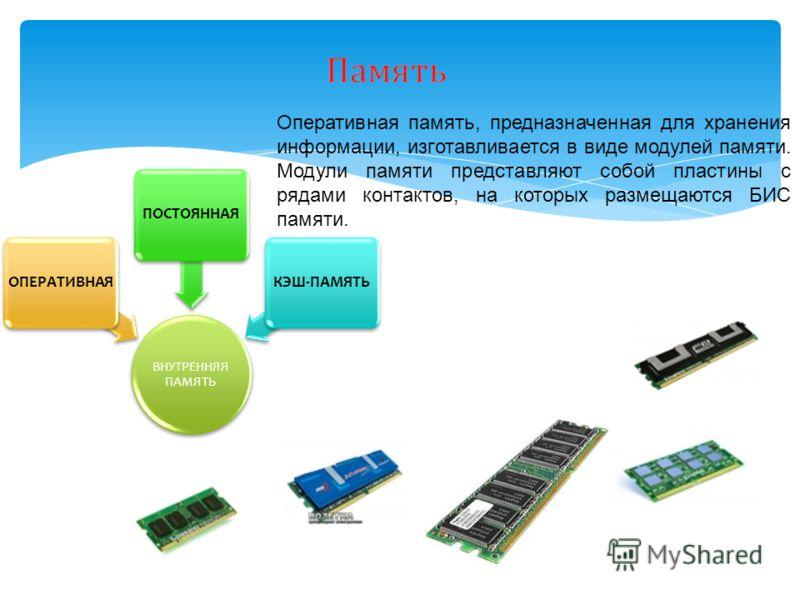 Оперативная память, предназначенная для хранения информации, изготавливается в виде модулей памяти. Модули памяти представляют собой пластины с рядами контактов, на которых размещаются БИС памяти. ВНУТРЕННЯЯ ПАМЯТЬ ОПЕРАТИВНАЯПОСТОЯННАЯКЭШ-ПАМЯТЬ