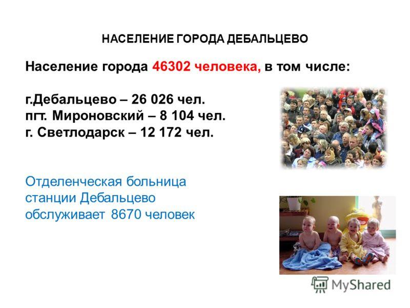 НАСЕЛЕНИЕ ГОРОДА ДЕБАЛЬЦЕВО Население города 46302 человека, в том числе: г.Дебальцево – 26 026 чел. пгт. Мироновский – 8 104 чел. г. Светлодарск – 12 172 чел. Отделенческая больница станции Дебальцево обслуживает 8670 человек