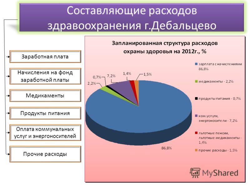 Заработная плата Начисления на фонд заработной платы Медикаменты Продукты питания Оплата коммунальных услуг и энергоносителей Прочие расходы