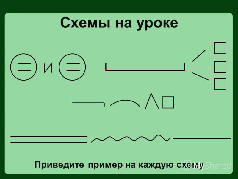 Схемы на уроке Приведите пример на каждую схему