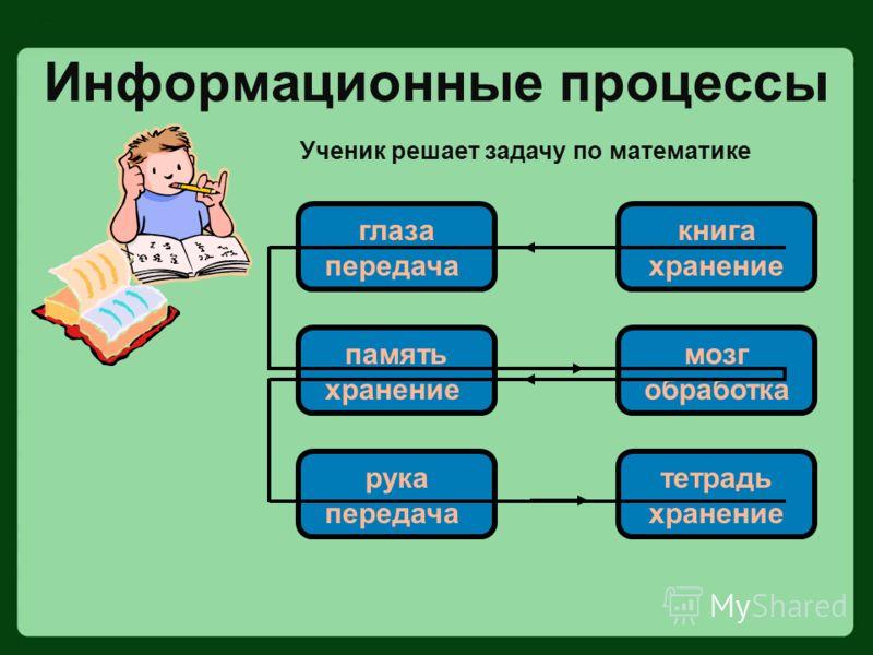 Информационные процессы Ученик решает задачу по математике глаза передача книга хранение память хранение мозг обработка рука передача тетрадь хранение
