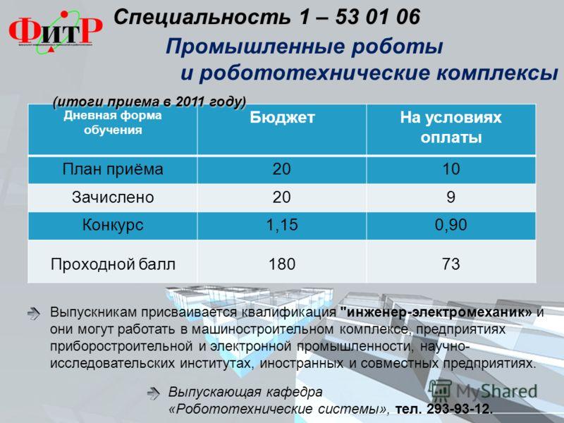 Специальность 1 – 53 01 06 Специальность 1 – 53 01 06 Выпускникам присваивается квалификация