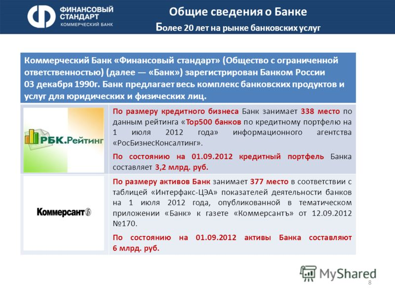 8 Коммерческий Банк «Финансовый стандарт» (Общество с ограниченной ответственностью) (далее «Банк») зарегистрирован Банком России 03 декабря 1990г. Банк предлагает весь комплекс банковских продуктов и услуг для юридических и физических лиц. По размер