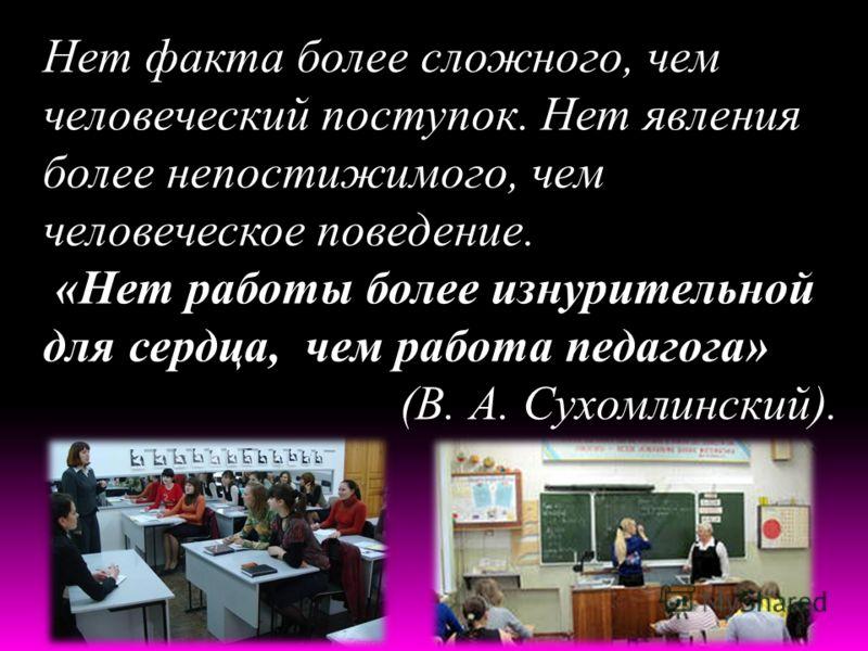 Нет факта более сложного, чем человеческий поступок. Нет явления более непостижимого, чем человеческое поведение. «Нет работы более изнурительной для сердца, чем работа педагога» (В. А. Сухомлинский).