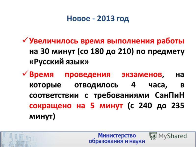 Новое - 2013 год Увеличилось время выполнения работы на 30 минут (со 180 до 210) по предмету «Русский язык» Время проведения экзаменов, на которые отводилось 4 часа, в соответствии с требованиями СанПиН сокращено на 5 минут (с 240 до 235 минут)