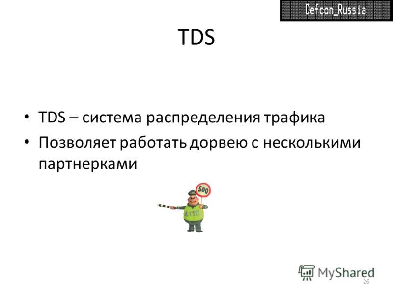TDS TDS – система распределения трафика Позволяет работать дорвею с несколькими партнерками 26