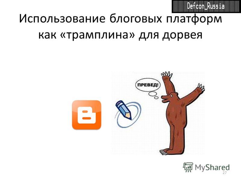 Использование блоговых платформ как «трамплина» для дорвея 27