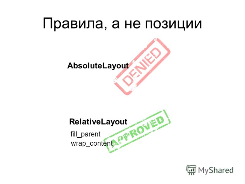 Правила, а не позиции AbsoluteLayout RelativeLayout fill_parent wrap_content