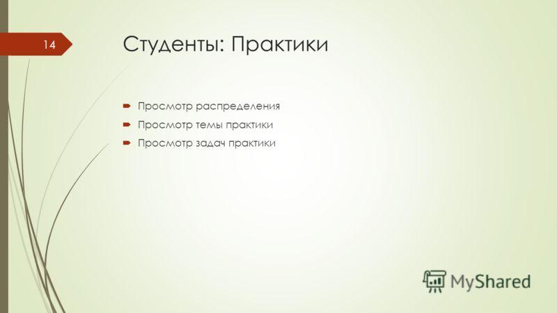 Студенты: Практики Просмотр распределения Просмотр темы практики Просмотр задач практики 14