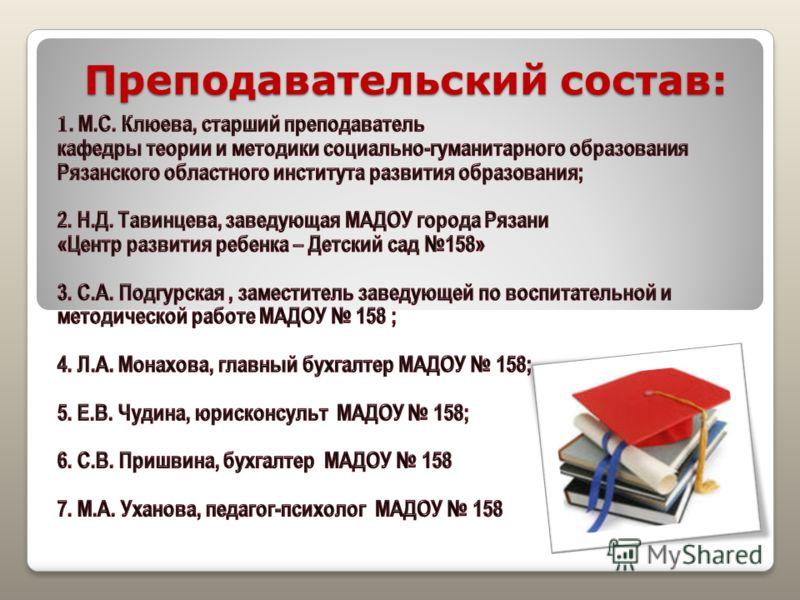 Преподавательский состав: