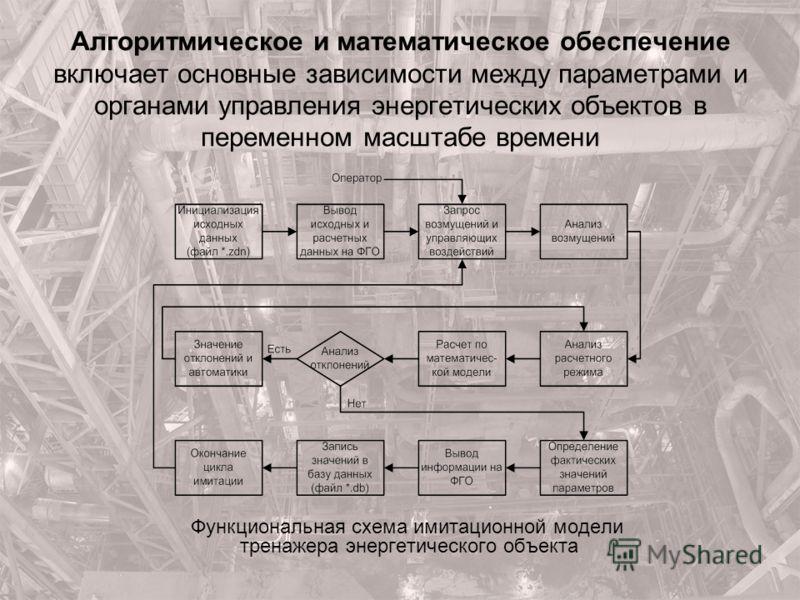 Алгоритмическое и математическое обеспечение включает основные зависимости между параметрами и органами управления энергетических объектов в переменном масштабе времени Функциональная схема имитационной модели тренажера энергетического объекта