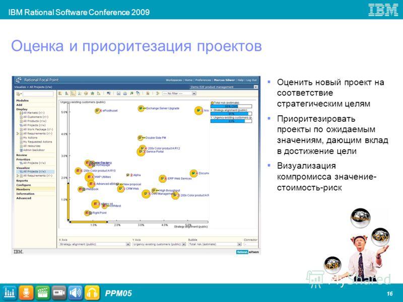 IBM Rational Software Conference 2009 PPM05 16 Оценка и приоритезация проектов Оценить новый проект на соответствие стратегическим целям Приоритезировать проекты по ожидаемым значениям, дающим вклад в достижение цели Визуализация компромисса значение