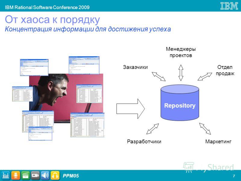 IBM Rational Software Conference 2009 PPM05 7 От хаоса к порядку Концентрация информации для достижения успеха Repository Заказчики Менеджеры проектов Отдел продаж МаркетингРазработчики