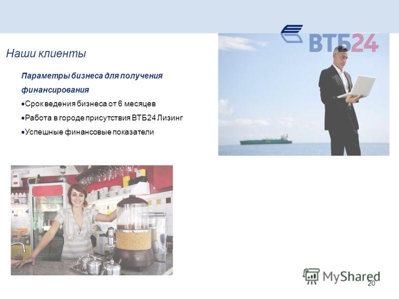 Наши клиенты Параметры бизнеса для получения финансирования Срок ведения бизнеса от 6 месяцев Работа в городе присутствия ВТБ24 Лизинг Успешные финансовые показатели 20