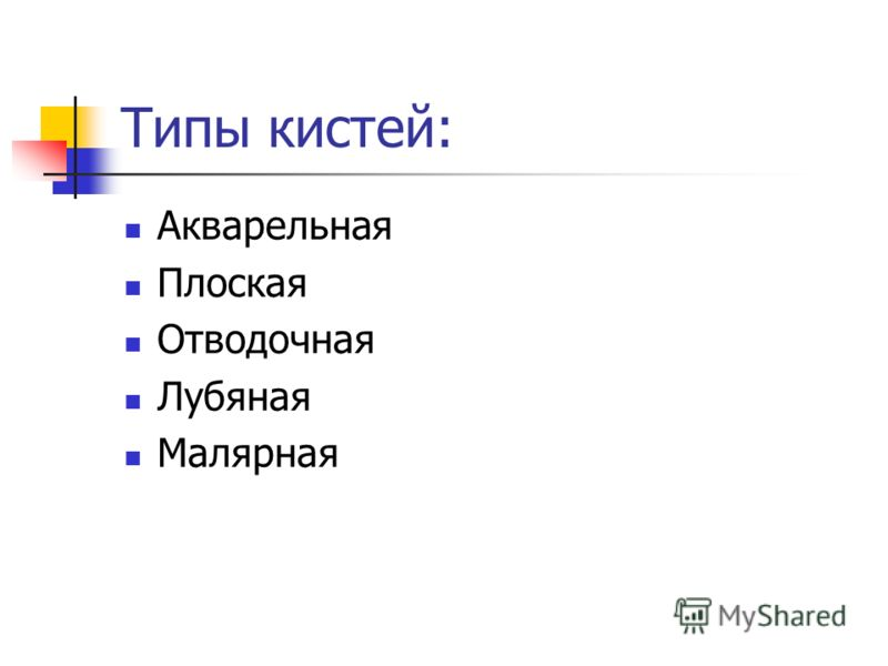Типы кистей: Акварельная Плоская Отводочная Лубяная Малярная