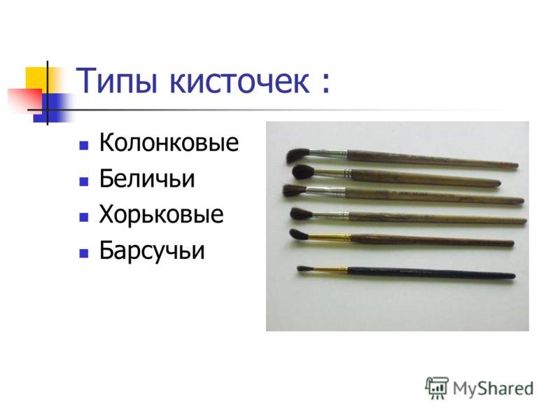 Типы кисточек : Колонковые Беличьи Хорьковые Барсучьи