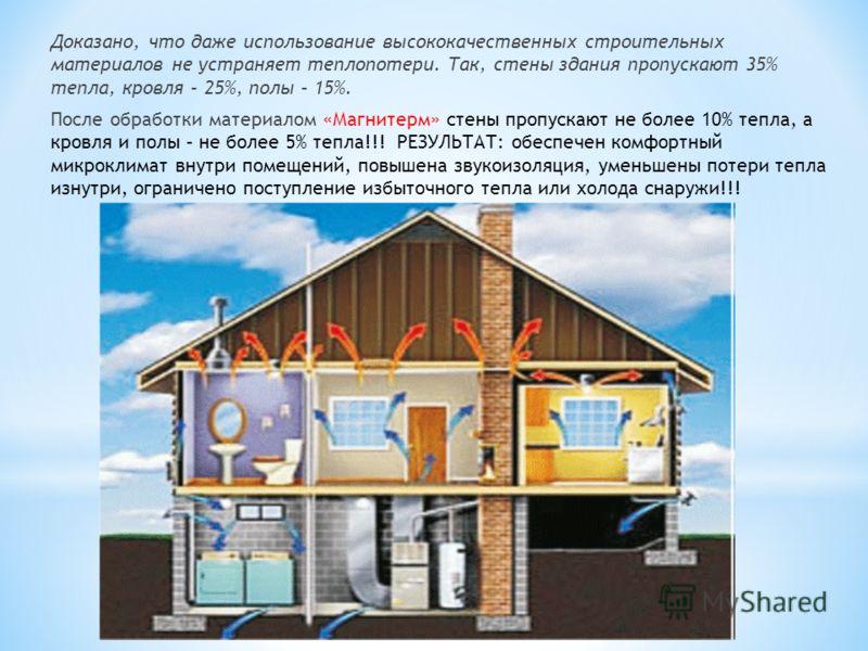 Доказано, что даже использование высококачественных строительных материалов не устраняет теплопотери. Так, стены здания пропускают 35% тепла, кровля – 25%, полы – 15%. После обработки материалом «Магнитерм» стены пропускают не более 10% тепла, а кров
