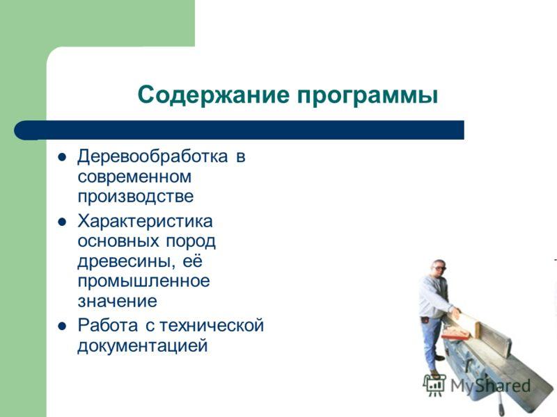Содержание программы Деревообработка в современном производстве Характеристика основных пород древесины, её промышленное значение Работа с технической документацией