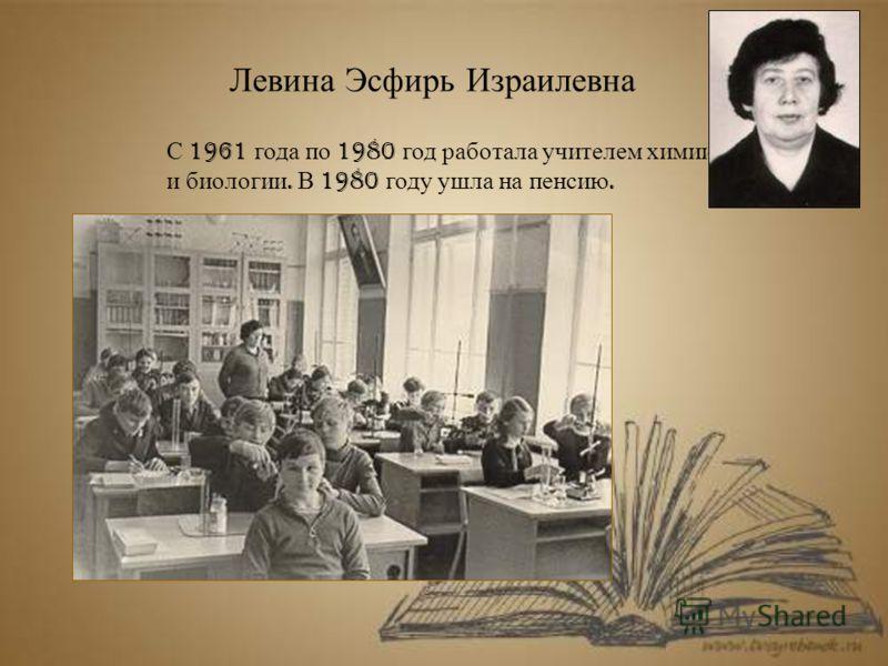 Левина Эсфирь Израилевна С 1961 года по 1980 год работала учителем химии и биологии. В 1980 году ушла на пенсию.