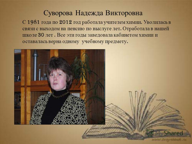 Суворова Надежда Викторовна С 1981 года по 2012 год работала учителем химии. Уволилась в связи с выходом на пенсию по выслуге лет. Отработала в нашей школе 30 лет. Все эти годы заведовала кабинетом химии и оставалась верна одному учебному предмету.