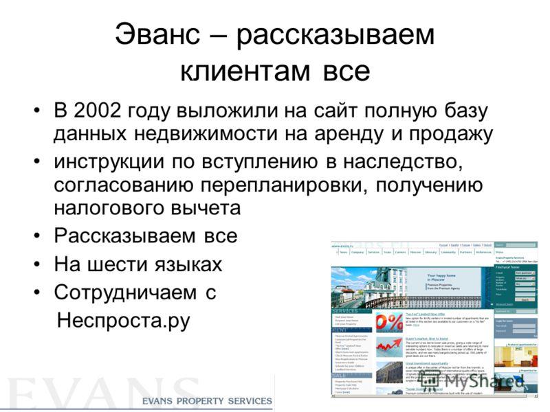 Эванс – рассказываем клиентам все В 2002 году выложили на сайт полную базу данных недвижимости на аренду и продажу инструкции по вступлению в наследство, согласованию перепланировки, получению налогового вычета Рассказываем все На шести языках Сотруд