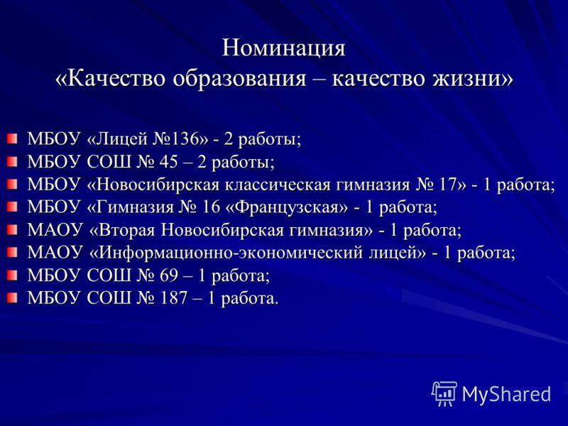 Номинация «Качество образования – качество жизни» МБОУ «Лицей 136» - 2 работы; МБОУ СОШ 45 – 2 работы; МБОУ «Новосибирская классическая гимназия 17» - 1 работа; МБОУ «Гимназия 16 «Французская» - 1 работа; МАОУ «Вторая Новосибирская гимназия» - 1 рабо