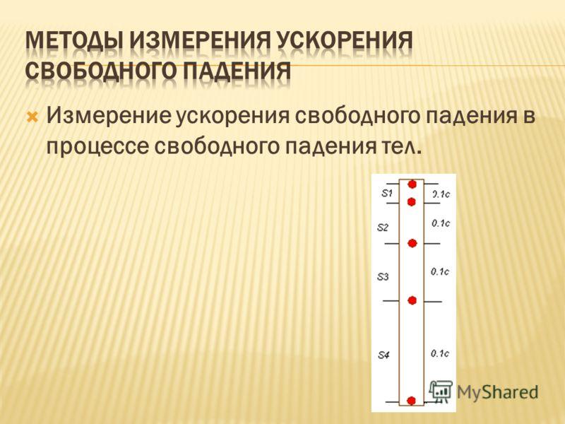 Измерение ускорения свободного падения в процессе свободного падения тел.
