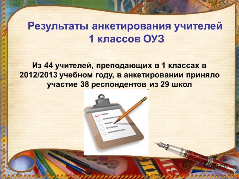 Результаты анкетирования учителей 1 классов ОУЗ Из 44 учителей, преподающих в 1 классах в 2012/2013 учебном году, в анкетировании приняло участие 38 респондентов из 29 школ