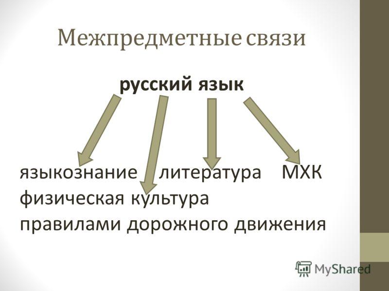 Межпредметные связи русский язык языкознание литература МХК физическая культура правилами дорожного движения