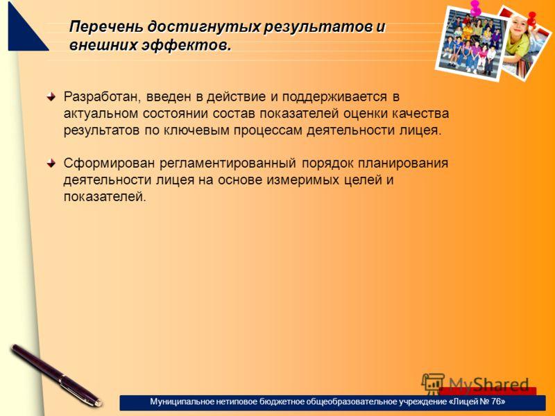 www.themegallery.com Перечень достигнутых результатов и внешних эффектов. Муниципальное нетиповое бюджетное общеобразовательное учреждение «Лицей 76» Разработан, введен в действие и поддерживается в актуальном состоянии состав показателей оценки каче