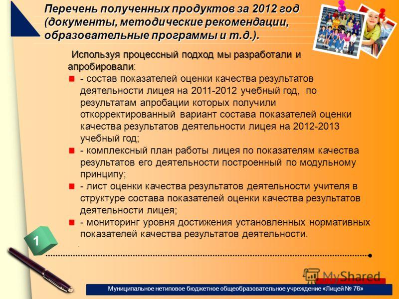 www.themegallery.com Перечень полученных продуктов за 2012 год (документы, методические рекомендации, образовательные программы и т.д.). Используя процессный подход мы разработали и апробировали Используя процессный подход мы разработали и апробирова