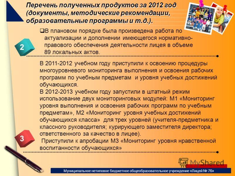 www.themegallery.com Перечень полученных продуктов за 2012 год (документы, методические рекомендации, образовательные программы и т.д.). 2 В плановом порядке была произведена работа по актуализации и дополнении имеющегося нормативно- правового обеспе
