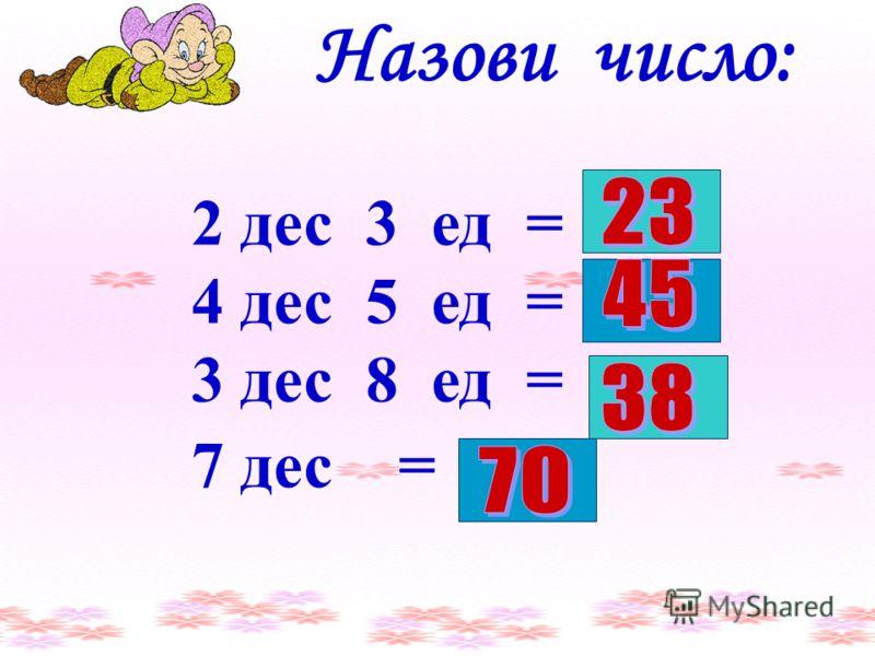 2 дес 3 ед = 4 дес 5 ед = 3 дес 8 ед = 7 дес = Назови число: