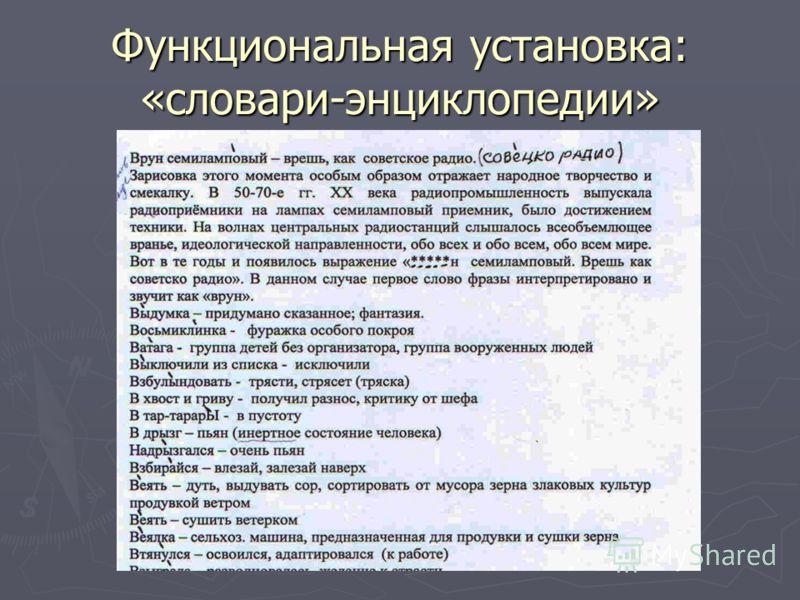 Функциональная установка: «словари-энциклопедии»