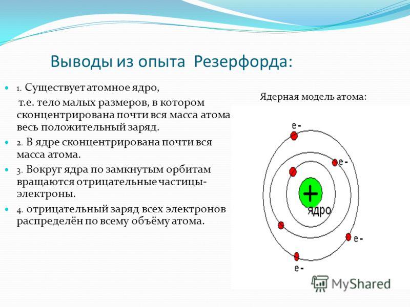 Выводы из опыта Резерфорда: 1. Существует атомное ядро, т.е. тело малых размеров, в котором сконцентрирована почти вся масса атома и весь положительный заряд. 2. В ядре сконцентрирована почти вся масса атома. 3. Вокруг ядра по замкнутым орбитам враща