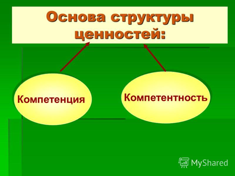 Основа структуры ценностей: Компетенция Компетентность