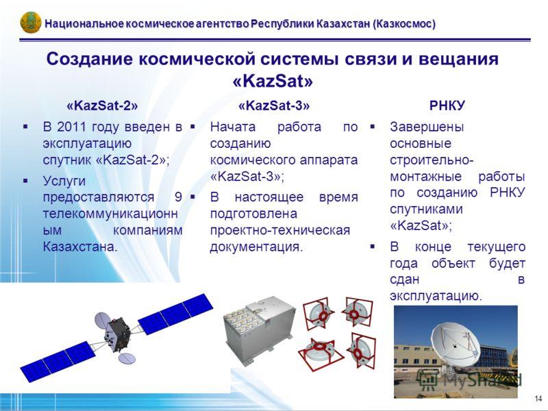 Создание космической системы связи и вещания «KazSat» Национальное космическое агентство Республики Казахстан (Казкосмос) «KazSat-2» В 2011 году введен в эксплуатацию спутник «KazSat-2»; Услуги предоставляются 9 телекоммуникационн ым компаниям Казахс