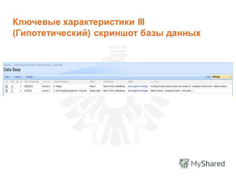 Ключевые характеристики III (Гипотетический) скриншот базы данных