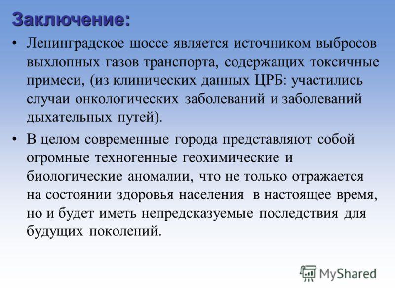 Заключение: Ленинградское шоссе является источником выбросов выхлопных газов транспорта, содержащих токсичные примеси, (из клинических данных ЦРБ: участились случаи онкологических заболеваний и заболеваний дыхательных путей). В целом современные горо