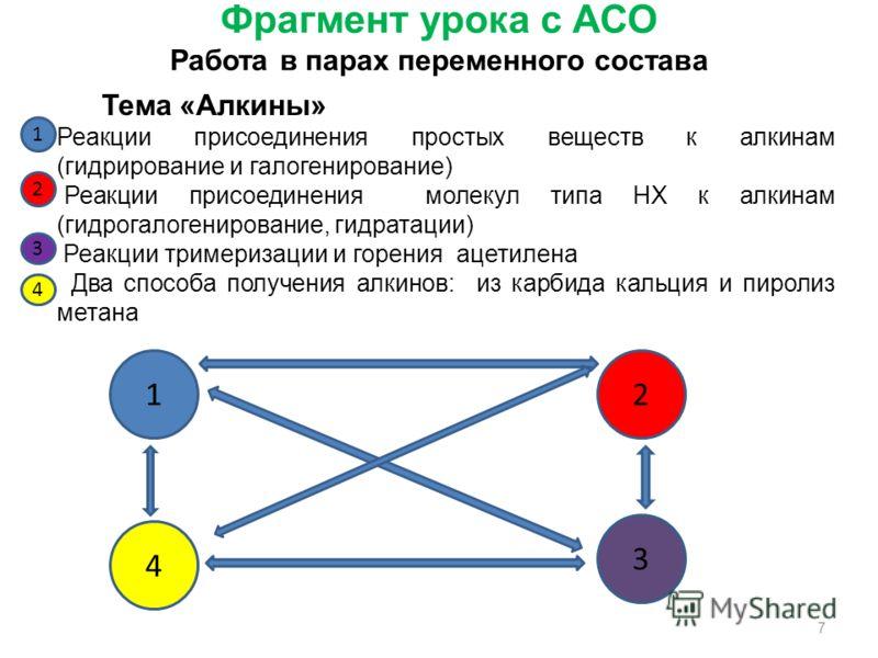 Фрагмент урока с АСО Работа в парах переменного состава 12 4 3 Тема «Алкины» Реакции присоединения простых веществ к алкинам (гидрирование и галогенирование) Реакции присоединения молекул типа НХ к алкинам (гидрогалогенирование, гидратации) Реакции т