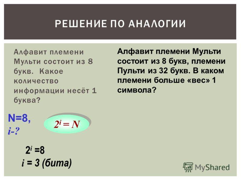 Алфавит племени Мульти состоит из 8 букв. Какое количество информации несёт 1 буква? РЕШЕНИЕ ПО АНАЛОГИИ N=8, i-? Алфавит племени Мульти состоит из 8 букв, племени Пульти из 32 букв. В каком племени больше «вес» 1 символа?
