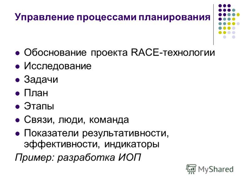 Управление процессами планирования Обоснование проекта RACE-технологии Исследование Задачи План Этапы Связи, люди, команда Показатели результативности, эффективности, индикаторы Пример: разработка ИОП