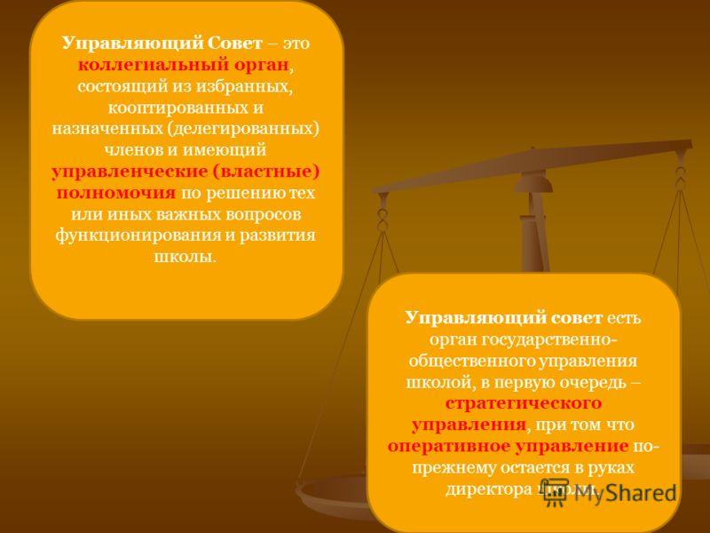 Управляющий Совет – это коллегиальный орган, состоящий из избранных, кооптированных и назначенных (делегированных) членов и имеющий управленческие (властные) полномочия по решению тех или иных важных вопросов функционирования и развития школы. Управл