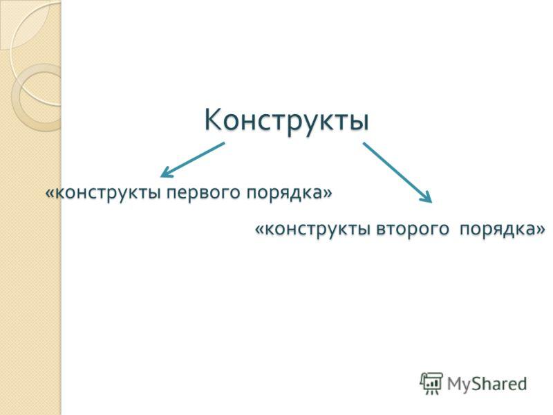 Конструкты « конструкты первого порядка » « конструкты второго порядка » Конструкты « конструкты первого порядка » « конструкты второго порядка »
