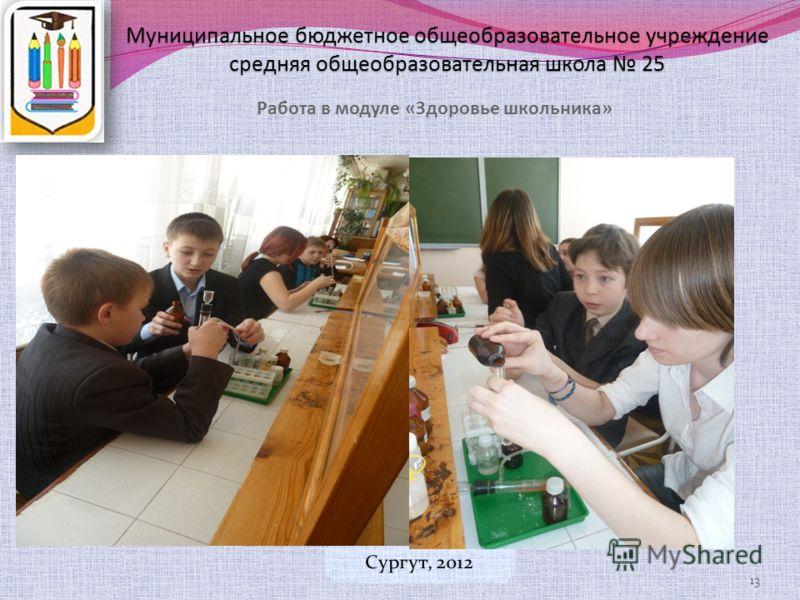 Муниципальное бюджетное общеобразовательное учреждение средняя общеобразовательная школа 25 Работа в модуле «Здоровье школьника» 13
