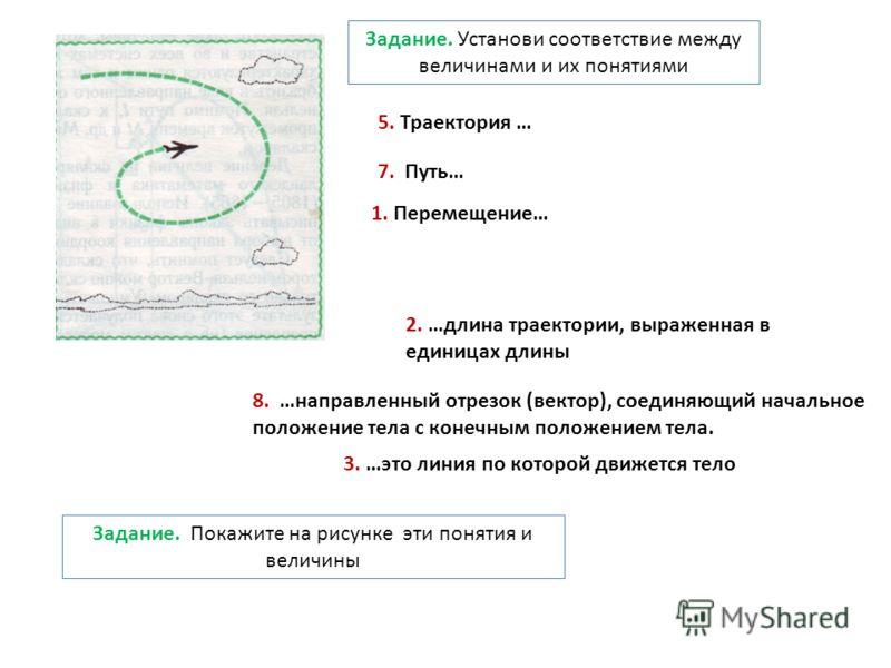 5. Траектория … 3. …это линия по которой движется тело 7. Путь… 2. …длина траектории, выраженная в единицах длины 8. …направленный отрезок (вектор), соединяющий начальное положение тела с конечным положением тела. 1. Перемещение… Задание. Установи со